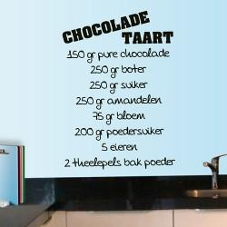 Tekststicker recept voor chocolade taart