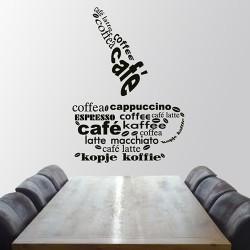 Tekststicker woordenbrei rondom koffie