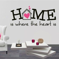Tekststicker home is where the heart is