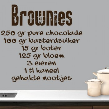 Tekststicker Recept Brownies