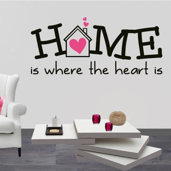 Tekststicker Home is where the heart is (2 kleurig)